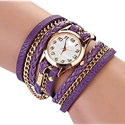 PromiseU Women Synthetic Leather Strap Watch-Purple