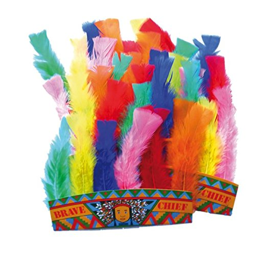 6 x Indianer Haarband mit Federn | Kopfbedeckung | Indianerparty | Kopfschmuck für 6 Kinder