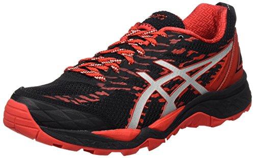 Asics Herren Gel-Fujitrabuco 5 T6J0N-9023 Trail Running Schuhe, Mehrfarbig (Black/Vermilion/Silver), 44 EU