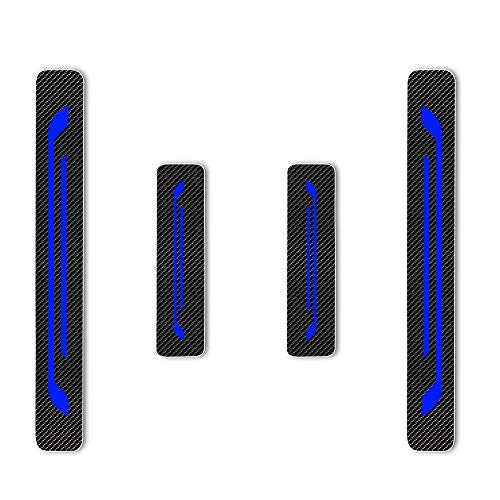 Battitacco Auto Esterno Batticalcagno per LEAF NV200 Combi Micra Note Pulsar Juke Qashqai X-Trail Navara 370Z GT-R Adesivi delle Soglie delle Porte in Fibra di Carbonio Blu 4 pezzi