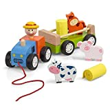 Trecker Traktor zum Ziehen aus Holz (mit Tieren und abnehmbaren Anhänger) Holz-Spielzeug Bauernhof ca 27,5 cm lang