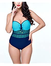 e4714f991c2d24 WLITTLE Mollige Damen Einteiler Bademode Bauchweg Bikini Tankini Retro für  mollige Damen push up Brasilianische große