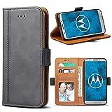Bozon Motorola Moto G6 Hülle, Leder Tasche Handyhülle für Motorola Moto G6 Flip Wallet Schutzhülle mit Ständer und Kartenfächer/Magnetverschluss (Dunkel-Grau)