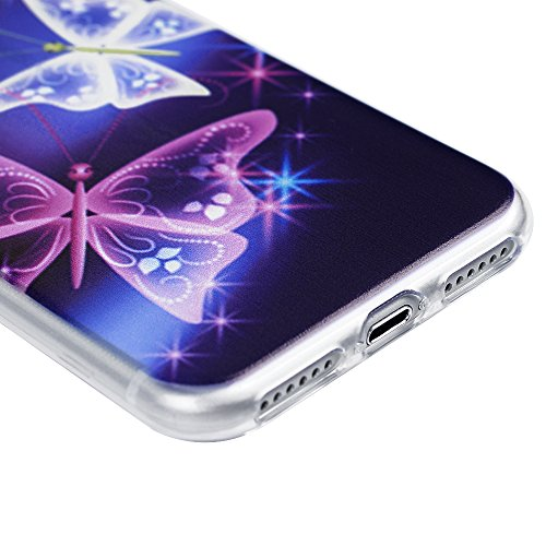 iPhone 7 Custodia Morbido Silicone TPU Gel Ultra Slim Trasparente 4.7 - MAXFE.CO Case Cover [Shock-Absorption Bumper][Ultra Sottile Liscio] - Totem Fiore farfalla