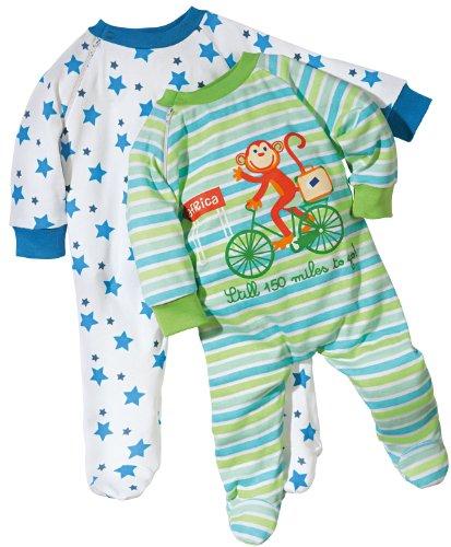 Baby Butt Schlafanzug 2er-Pack mit Druckmotiv Affe und Sterne Interlock-Jersey weiss Größe 86 / 92