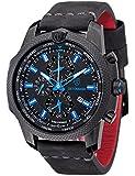 DETOMASO Discoverer XXL GMT Weltzeit Herren-Armbanduhr mit Alarm-Funktion, Edelstahl-Gehäuse und Leder-Armband