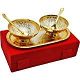 Cameo Brass Silver And Gold Plated Floral Shaped Brass Bowl And Tray Set - B07BGW6317