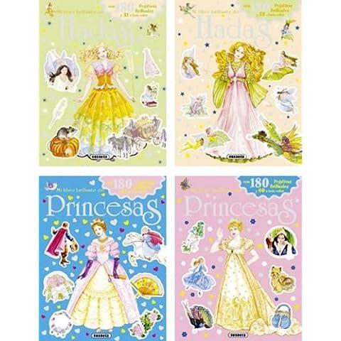 Mi libro brillante de hadas y princesas con pegatinas (Pack de 4 libros) (Mi Libro Brillo Hadas/Princesas)