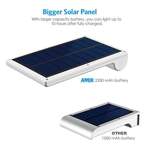 Amir 29 LED Solar Wandleuchte, 4 Modi Solarleuchten Außen, Bewegungs Sensor Licht, Wasserfest Solar Gartenleuchte mit Bewegungssensor, Solar Außenleuchte für Garten Patio, usw. (2 Stück) - 3