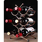 LEOO Portabottiglie per Vino in Metallo e portabottiglie portaoggetti per Bottiglie d'Acqua - per Piani Cucina, dispensa, Frigorifero - capacità: 6 Bottiglie