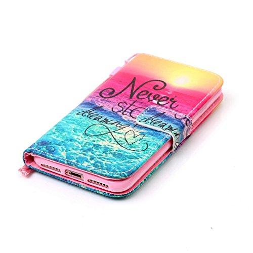 Ledowp Apple iPhone 7portafoglio in pelle, protezione integrale modello colorato design custodia in pelle custodia a portafoglio in pelle con slot per schede per iPhone 7 multicolore Rouge Baiser Sunset