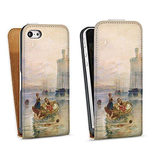 Apple iPhone 5 Housse Étui Silicone Coque Protection Le Château de Caernarfon Pays de Galles Art Sac Downflip blanc