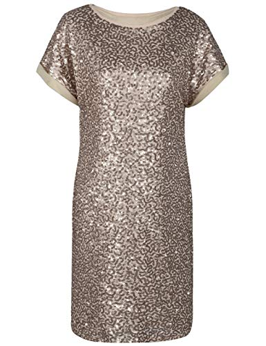 PrettyGuide Damen Pailletten Tunika Kleid Lose Glitter Dolman Hülse Party Cocktailkleid S Champagner -