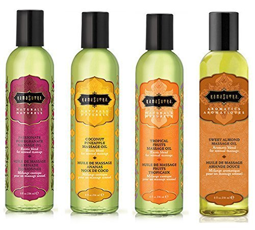 Bundle Kit Kama Sutra Massage Oils, (8 Oz) - (Set of 4) (The Naturals) Plus Afterglow Wipe by Kama Sutra