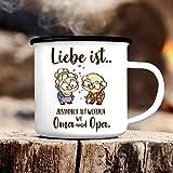 Wandtattoo-Loft Campingbecher Emaille Liebe ist. zusammen alt Werden wie Oma und Opa mit süßem Paar Emailletasse/Becher mit Motiv/Für Immer wie Oma und Opa/Liebesbeweis/schwarzer Tassenrand