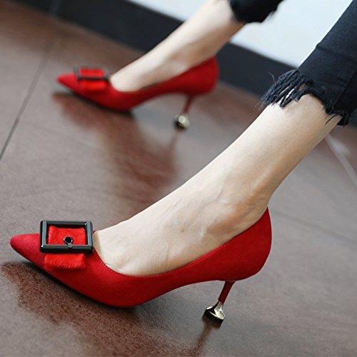 Flyrcx Européenne De La Mode Personnalité Sexy En Daim Unique Gules Chaussures