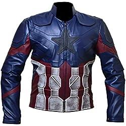 Avengers Infinity War Capitán América (Chris Evans) Chaqueta para hombre con imitación de cuero (XXS a 4XL) (XS)