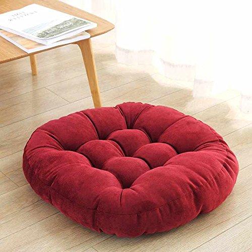 WDZA Peluche Coussin De Chaise Simple Office Étudiants Classe Pique-Nique Jardin Assise, 55X55Cm, Rouge Foncé