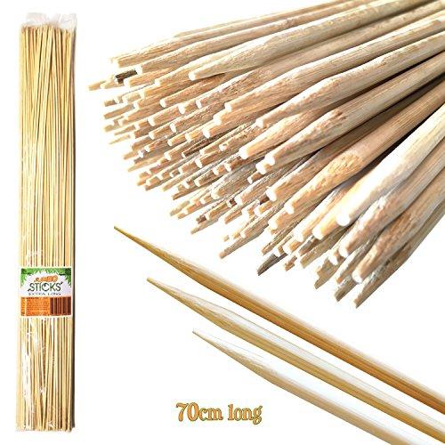 Jumbo Sticks 70cm largo pinchos de bambú XL coating-free Marshmallow–Natural, sin residuos, suave y Smooth asar bastones de madera para hogueras (110pcs): ideal para camping, fogatas, braziers, barbacoas o jardinería soporta