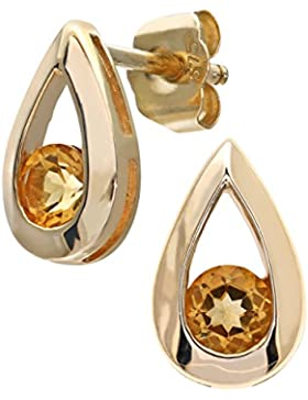 Citerna Ohrringe, tropfenförmig, 9 kt, Gelbgold, 0,30 kt, Citrin