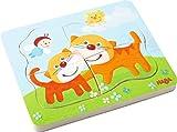 HABA 302532 - Holzpuzzle Schmusekatzen | Puzzle in 4 Schichten mit 10 Teilen | Holzspielzeug mit liebevoll gestalteten Katzenmotiven | Spielzeug ab 2 Jahren