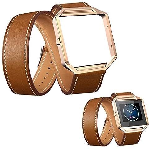 Montre de remplacement extra long, Happytop double tour avec structure en métal de bracelet Bracelet Bracelet de montre bracelet pour Fitbit Blaze Smart Watch S marron