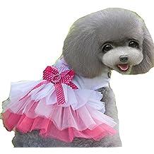 ERWAA Vestido Lindo de Mascota Cachorro de Perro Vestido de Lazo Vestido Falda de Encaje de Perrito Ropa Para Mascotas Traje del Perro