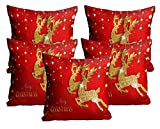 #7: Mukesh Handicrafts Merry Christmas Cushion Cover In Jute Fabric Set Of 5 Size-(16X16 Inches)