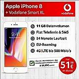 Apple iPhone 8 (Gold) mit 64 GB internem Speicher, Vodafone Smart XL inkl. 11GB Highspeed Volumen mit Max 500 Mbits, inkl. Telefonie- und SMS Flat, EU-Roaming, 24 Monate Min. Laufzeit, mtl.