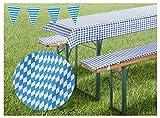 heimtexland - Set di Cuscini per Tavolo e panche da Birra, Motivo Rombi bavaresi, Colore Blu