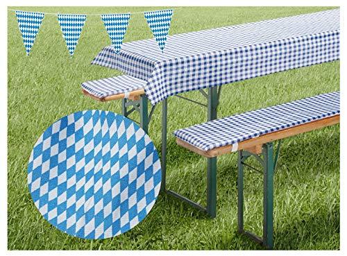 heimtexland ® Biergarnitur-Auflagen Set Bierbank-Polster Tischdecke Bayrische Raute Bavaria Blue Oktoberfest Party Deko Biertisch Maße 70 x 220 cm Typ331