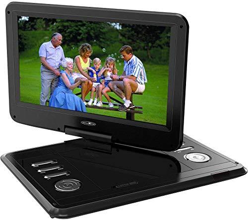 Reflexion DVD1217 Tragbarer 29,5 cm (11,6 Zoll) DVD-Player mit DVB-T2 HD Tuner, Fernbedienung, 12V Adapter, USB, 230V Netzteil, DVBT Antenne, schwarz