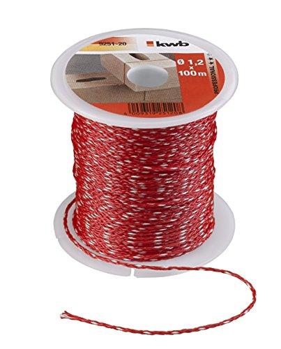 kwb Maurerschnur 100m, Stärke 1,2mm, Richtschnur in Rot – Nylon, geflochten, Made in Germany