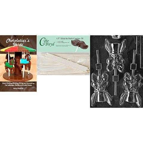 Cybrtrayd 'Bunny con cappello Lolly'Stampini pasquali di cioccolato, 4,5 cm, con cavo da 50 bastoncini per lecca-lecca e Chocolatier s Guide - Cappello Chocolate Mold