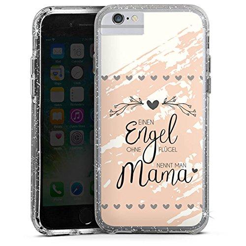 Apple iPhone 6s Plus Bumper Hülle Bumper Case Glitzer Hülle Muttertag Spruch Mama Bumper Case Glitzer silber