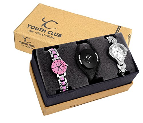YOUTH CLUB Analogue Multicolor Dial Girl's Combo Of 3 Watch (Lpkmbkdmsl)