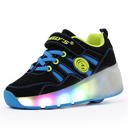 LILY999 Unisex Kinder LED 7 Farbe Farbwechsel Lichter blinken Shoes Schuhe Flügel-Art Rollen Verstellbare Schlittschuhe Skateboard Lnline Sneaker Einzelnes Rad Jungen Mädchen Schwarz Blau