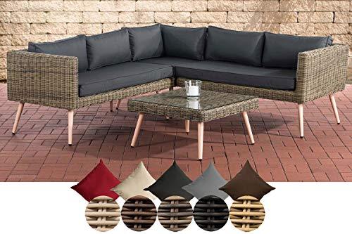 Clp polyrattan divano lounge set molde i natura i giardino lounge rundrattan i angolare angolare + vetro tavolo i 5mm spessore in rattan