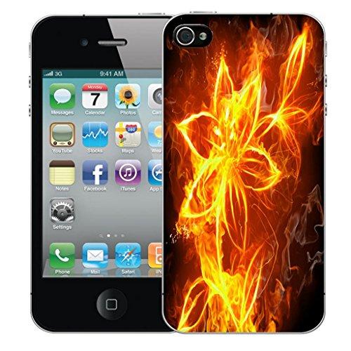 Nouveau iPhone 4 clip on Dur Coque couverture case cover Pare-chocs - fire spiral Motif avec Stylet fire flower