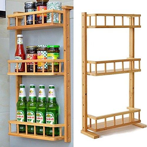 Basong Gewürzregal Gewürzhalterung Küchenregal Flachenregal aus Bambus 3 Etage