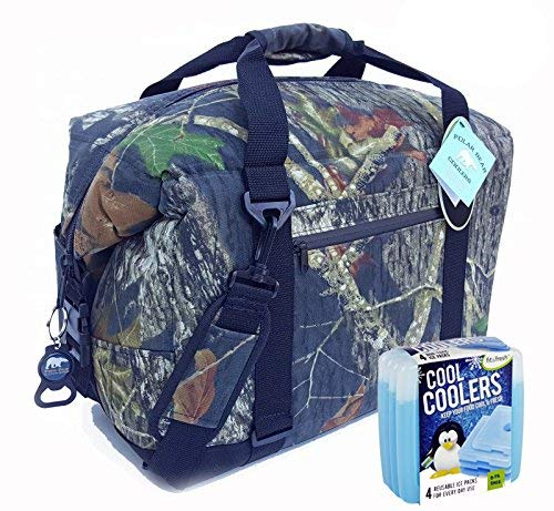 Polar Bear Coolers Nylon Series Soft Cooler Tote Größe 24 Pack (Mooseiche Breakup) & Fit & Fresh Cool Coolers Slim Ice Kühler 4er Pack (zufällig) - Auslaufsichere Cooler Soft