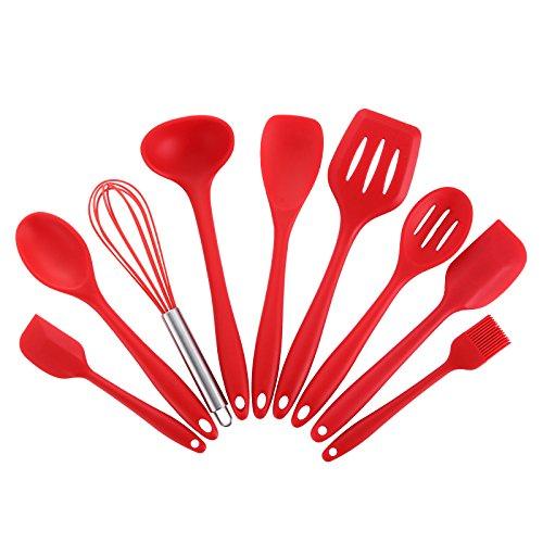 Joyoldelf 9 - piezas de silicona para hornear / Set - espátulas, cucharas y Turner - resistente al calor utensilios de cocina (rojo)