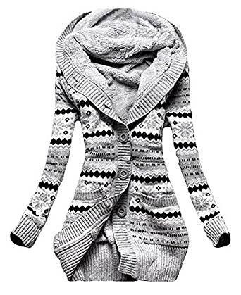 Vlies-mantel (Minetom Damen Vlies Gestrickt Taste Pullover Oberbekleidung Mit Kapuze Strickjacken Kapuzenpullover Strickwaren Mäntel (DE 34, Grau))