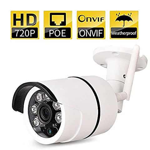 Bullet IP Camera Outdoor SDETER Waterproof 720P HD Home Security Surveillance (Easy Setup, Built-in 16G Memory Card, Remote View Via Smart Phone/Tablet/PC, Plug/Play, Night Vision, Alarm