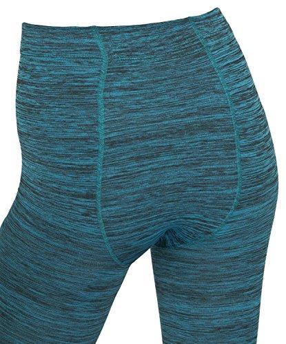 Damen Thermo Leggings gefüttert mit Innenfleece | extra warm in Blau Rot Grau Türkis Winter Herbst - Piarini türkis-meliert