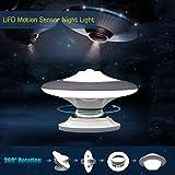 Giwox UFO Lámpara Nocturna Sensor de Movimiento Luz LED de Noche 360 Grados de Rotación Base Magnética Recargable Luz de emergencia para escaleras baño habitación armario cocina (blanco)