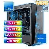 M&M Computer High End Gamer Wasserkühlung RGB, AMD Ryzen 7 2700X CPU AM4, VGA GeForce RTX2070 8GB Gaming, 480GB SSD, 2000GB HDD, 16GB DDR4 RAM, Gigabyte Aorus Mainboard, Windows 10 Home
