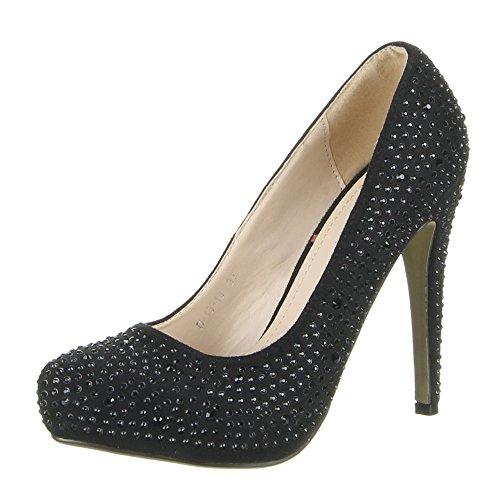 Damen Schuhe PUMPS STRASSSTEIN DEKO HIGH HEELS Schwarz Rot 36 37 38 39 40 41 Schwarz