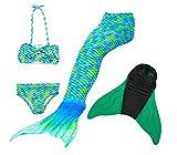 Likeep Mädchen Cosplay Kostüm Badebekleidung Süße Meerjungfrau Badeanzug 3pcs Bikini Sets Ein Mädchentraum! (140, Grün)
