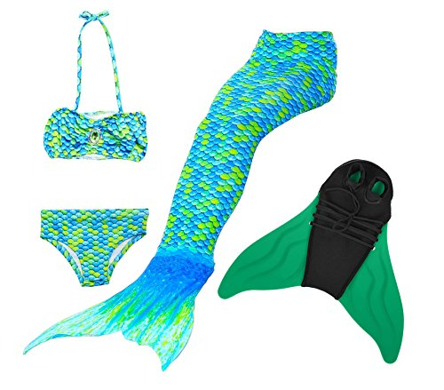 Likeep Mädchen Cosplay Kostüm Badebekleidung Süße Meerjungfrau Badeanzug 3pcs Bikini Sets Ein Mädchentraum! (130, Grün)